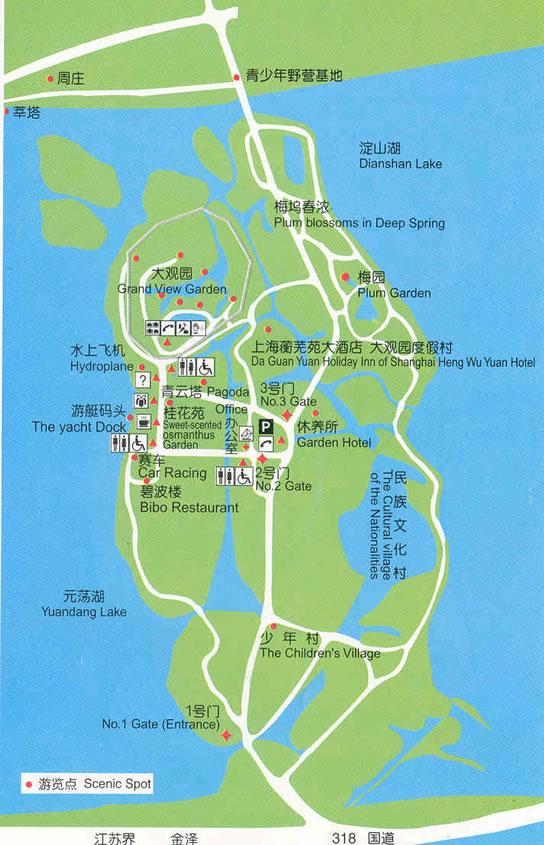 上海大观园旅游线路图