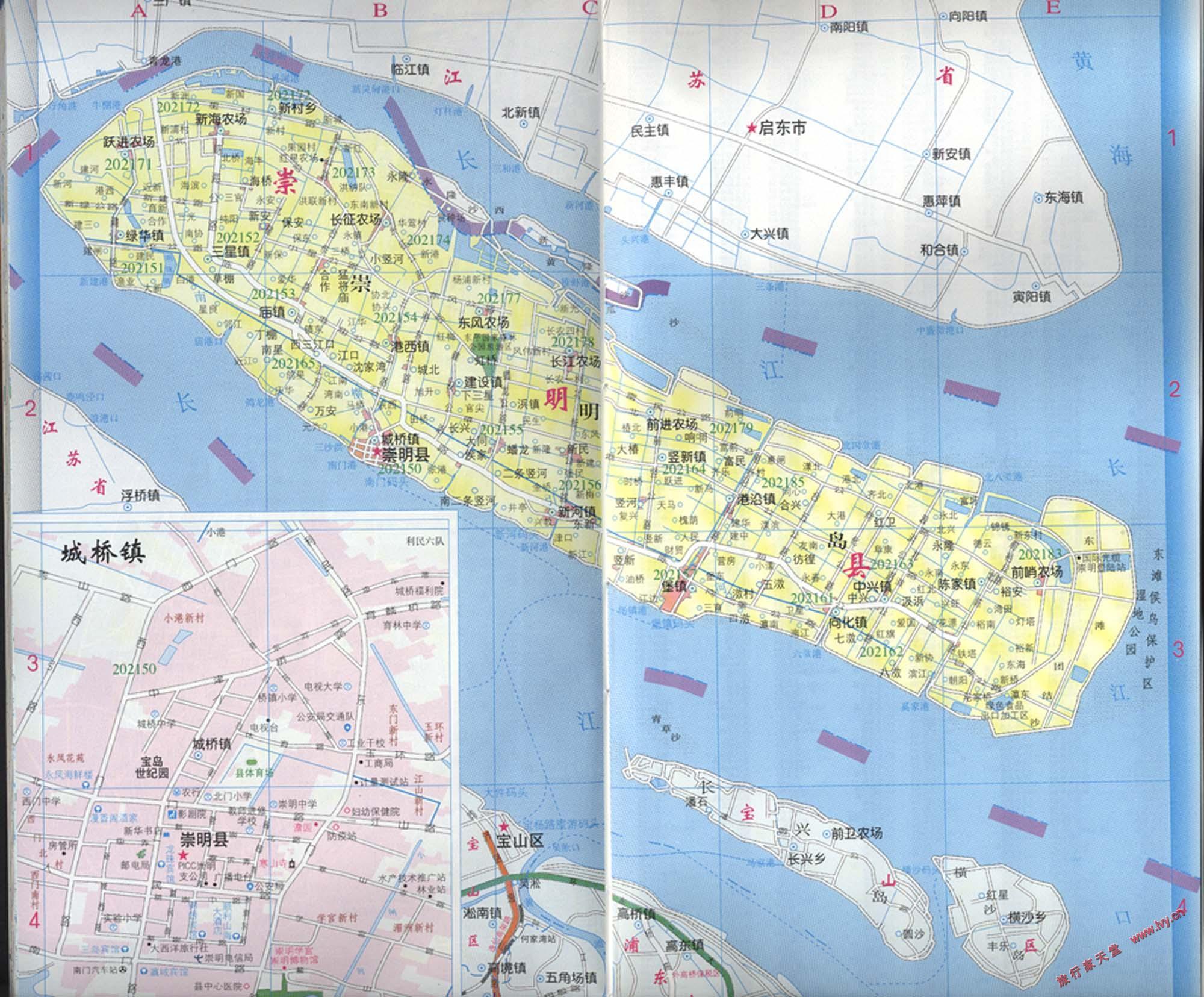 崇明区划交通地图