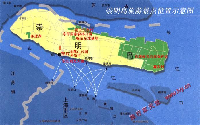 崇明岛旅游景点示意图